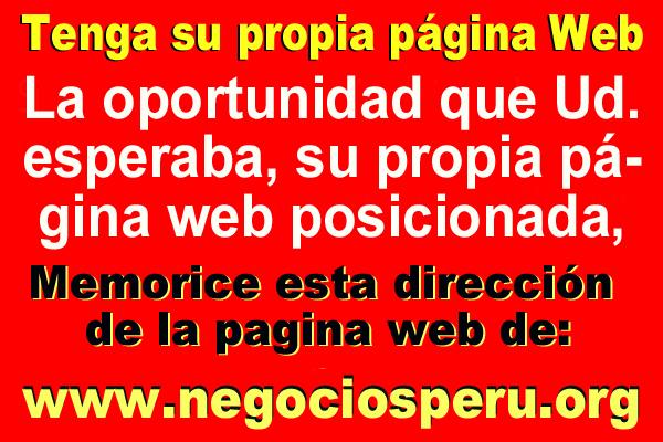 pagina web para Ud., precios económicos y publicidad eficaz